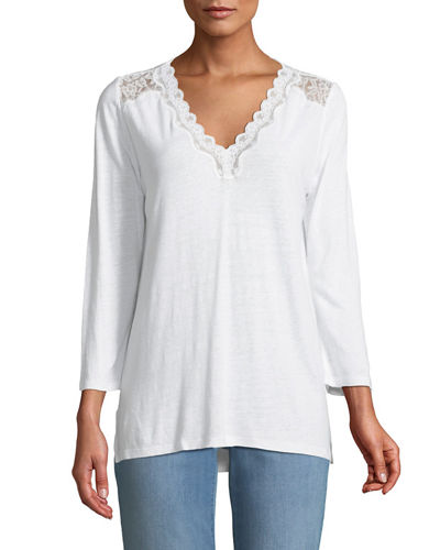 NYDJ Lace-Trimed Jersey Tunic
