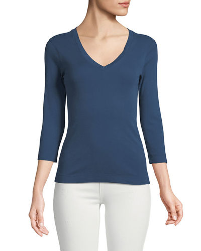 3/4-Sleeve Combed Cotton V-Neck Tee