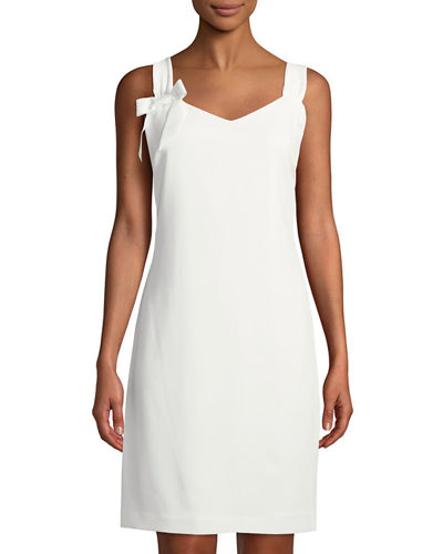Karl Lagerfeld Paris Sleeveless Bow-Shoulder Shift Dress
