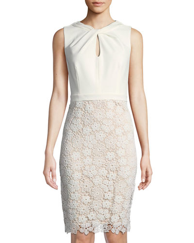 Karl Lagerfeld Paris Knot-Neck Lace-Skirt Cocktail Dress