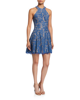 ANGIE LACE HALTER COCKTAIL DRESS