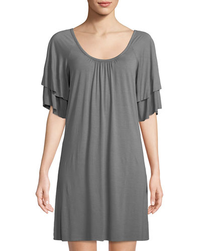 Classic Spring Tiered-Sleeve Shift Dress