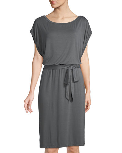 Dolman-Sleeve Tie-Waist Jersey Dress