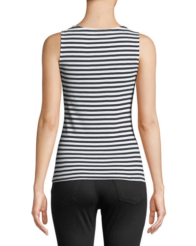 Boat-Neck Striped Tank