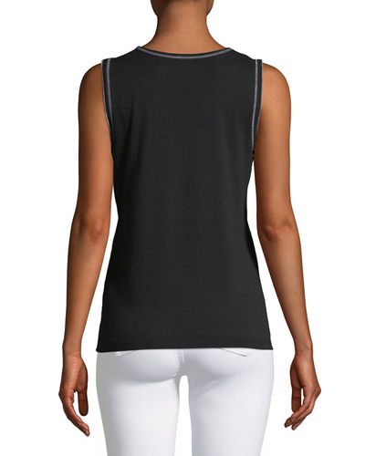 Split-Neck Top-Stitch Tank