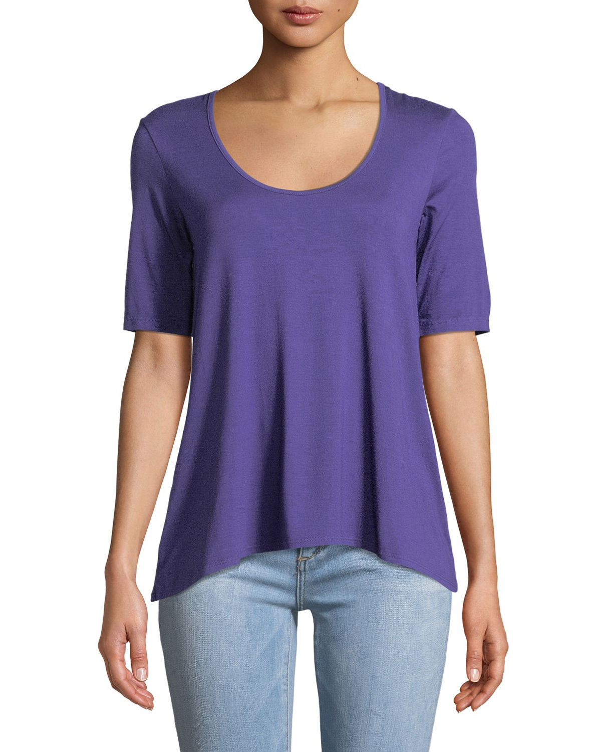 Half-Sleeve Draped High-Low Tee
