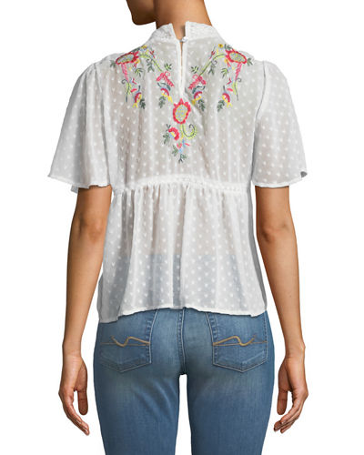 Mock-Neck Embroidered Blouse