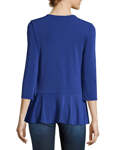3/4-Sleeve Peplum Top