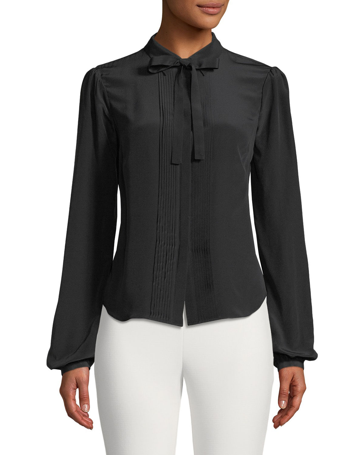3d6c113661741 Zac Posen Scarlet Pintucked Tie-Neck Silk Blouse In Black