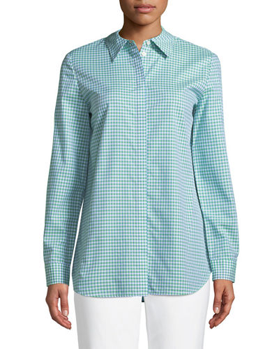 Brody Gingham Button-Front Blouse