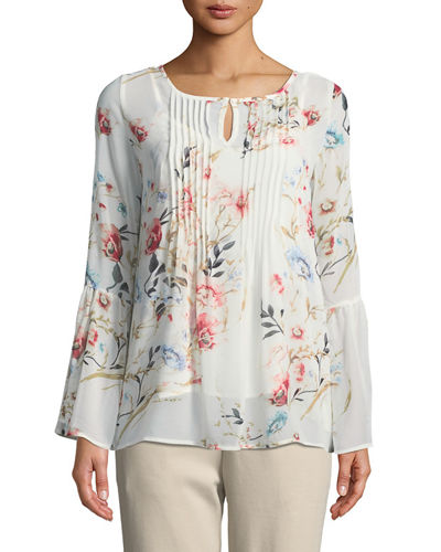 Floral-Chiffon Bell-Sleeve Blouse