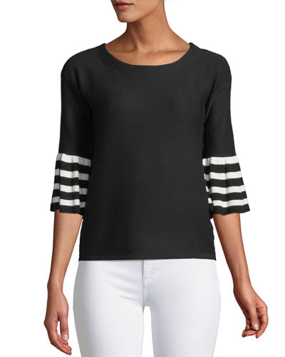 3/4 Striped-Sleeve Sweater