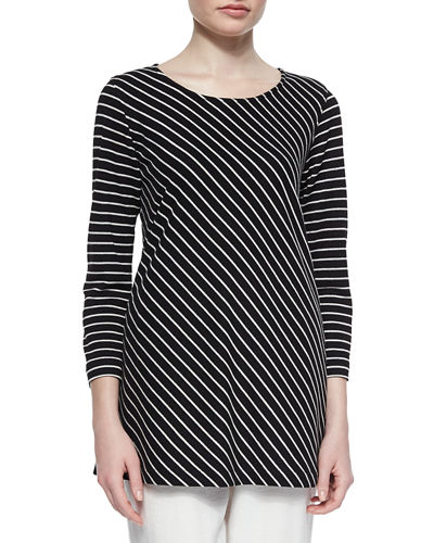 Caroline Rose Bias-Striped Knit Tunic, Petite
