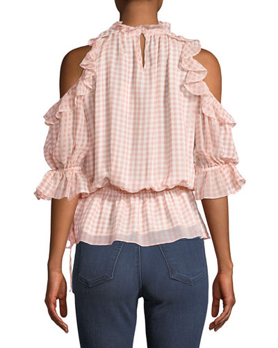 Cold-Shoulder Ruffled Gingham Blouse
