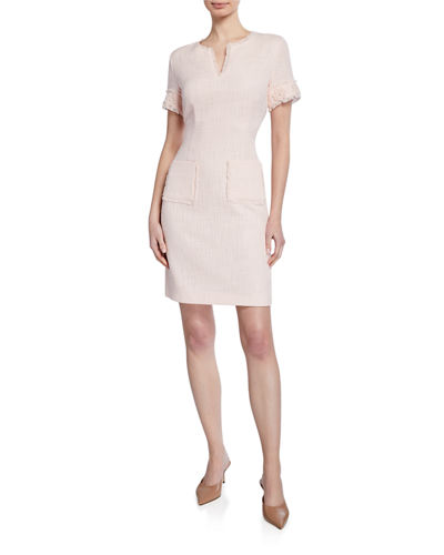 732aca6c7fd Karl Lagerfeld Paris Cap-Sleeve Tweed Dress with Floral Appliques   Front  Pockets