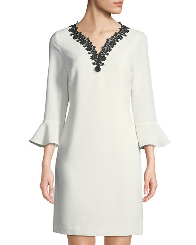 Karl Lagerfeld Paris 3/4 Bell-Sleeve V-Neck Shift Dress