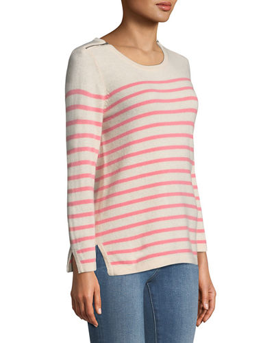 Cashmere Striped Zip-Shoulder Sweater
