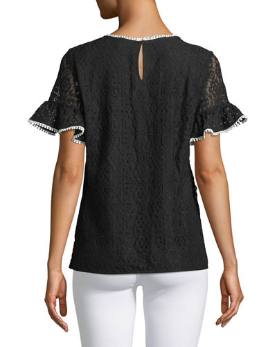 Ruffle-Sleeve Floral-Lace Blouse