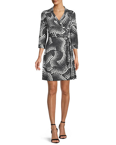 Milo Printed 3/4-Sleeve Wrap Dress