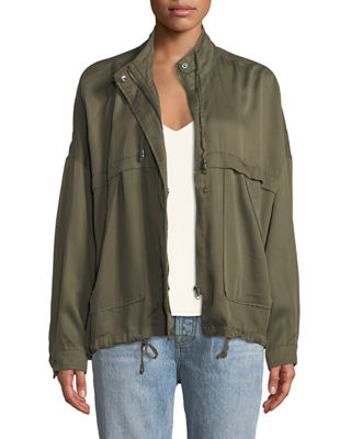 P. LUCA Lightweight Roll-Sleeve Spring Jacket in Olive