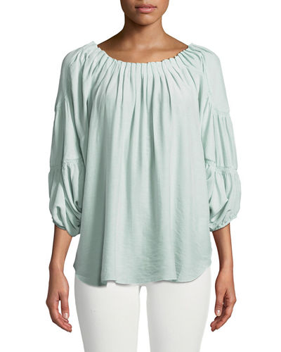 Pleated Boat-Neck Gathered Top