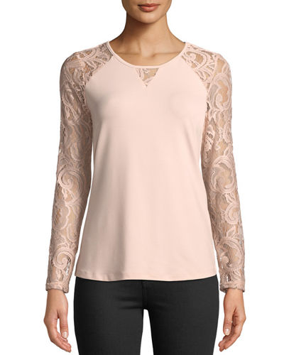 Lace-Sleeve Crewneck Tee