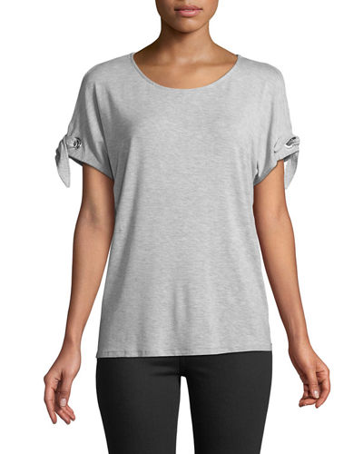 Carmen by Carmen Marc Valvo Cold-Shoulder Tie-Sleeve Tee