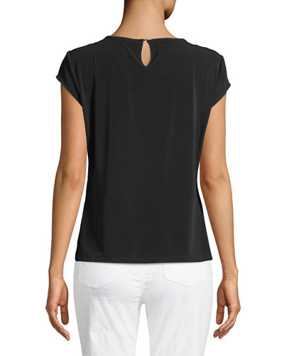 Pearl-Neck Cap-Sleeve Blouse