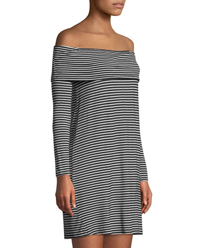 Off-The-Shoulder Striped Mini Dress