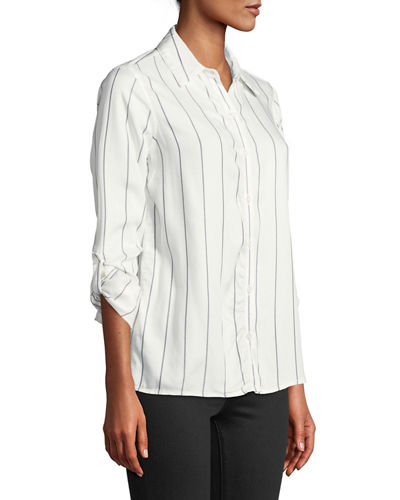 Button-Front Woven Camp Blouse