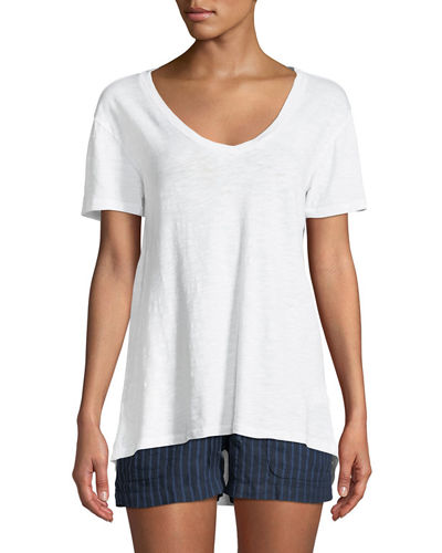 Short-Sleeve High-Low V-Neck Tee