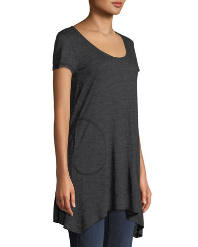 Short-Sleeve Angled Tunic with Pockets