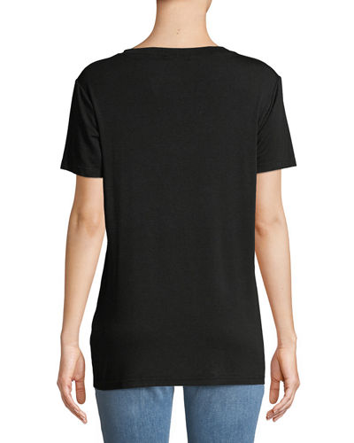 Crewneck Short-Sleeve Cutout Tee