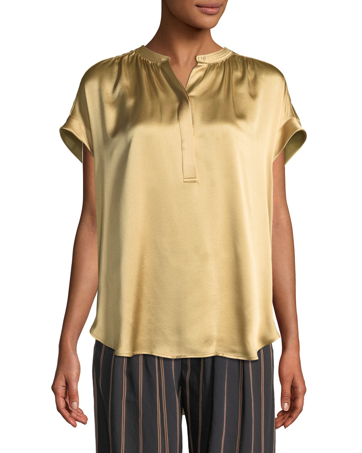 74c83d0f473a7c Vince Silk Shirred-Neck Cap-Sleeve Blouse In Ginseng