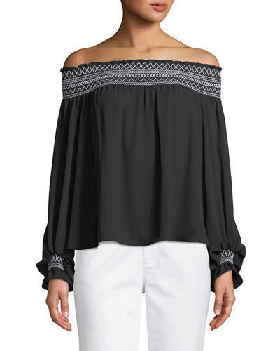 Off-The-Shoulder Balloon-Sleeve Blouse