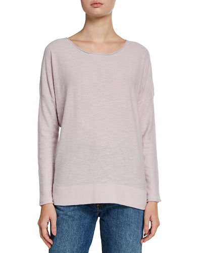 Slub-Knit Pullover High-Low Tee