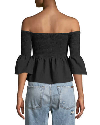 Say It Right Smocked Off-The-Shoulder Babydoll Top