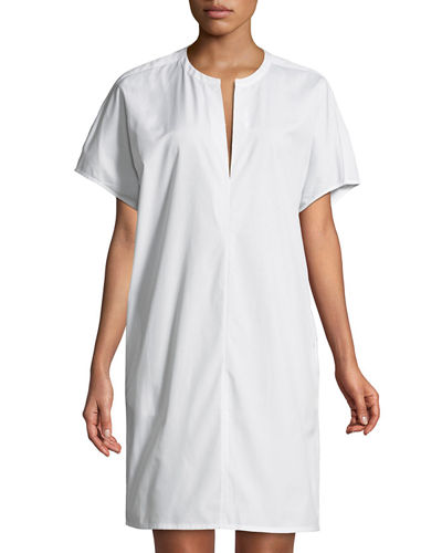 Split-Neck Cotton Poplin Popover Dress