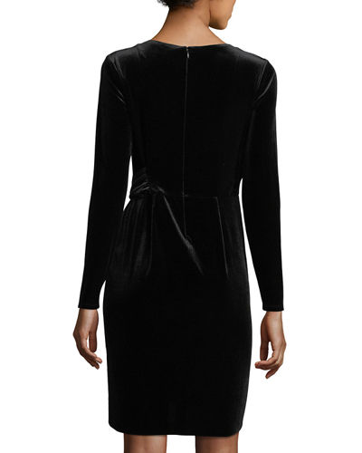 Long-Sleeve Velvet Dress
