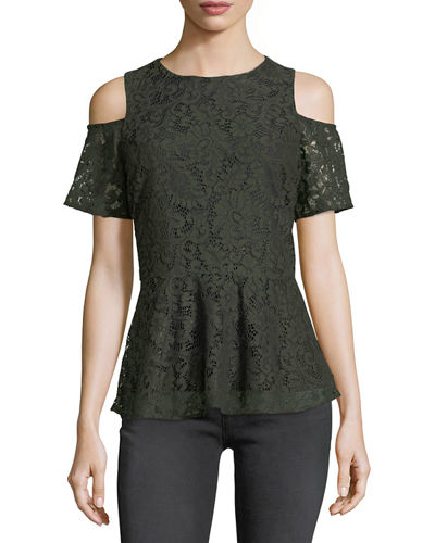 Cold-Shoulder Lace Peplum Blouse