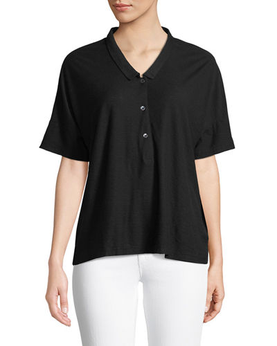 James Perse Boxy Cropped Polo Shirt
