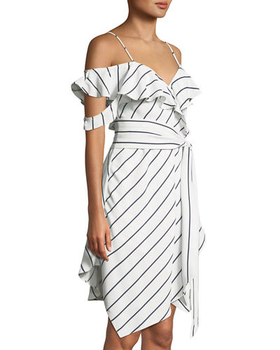 Pinstriped Ruffle Wrap Dress