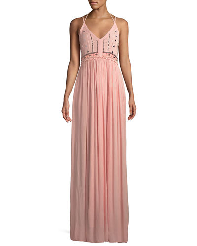 Leila Embellished-Gauze Maxi Dress