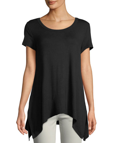 Scoop-Neck Handkerchief Jersey Tee
