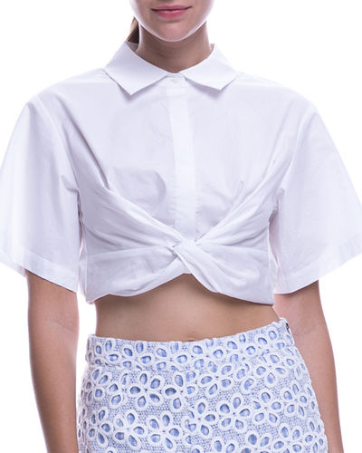 Crop Knot-Front Short-Sleeve Shirt