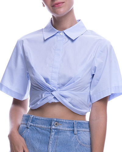 English Factory Crop Knot-Front Short-Sleeve Shirt