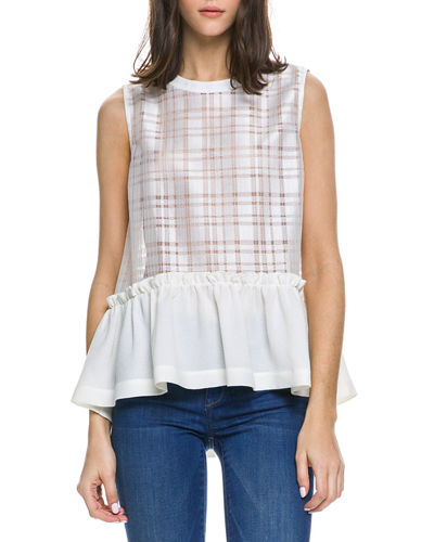 Shirred Plaid Combo Top