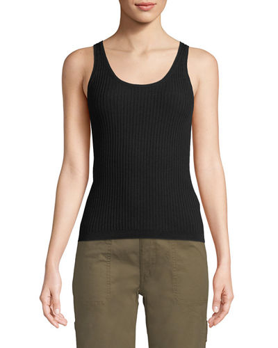 Ribbed Wool-Stretch Scoop-Neck Tank Top