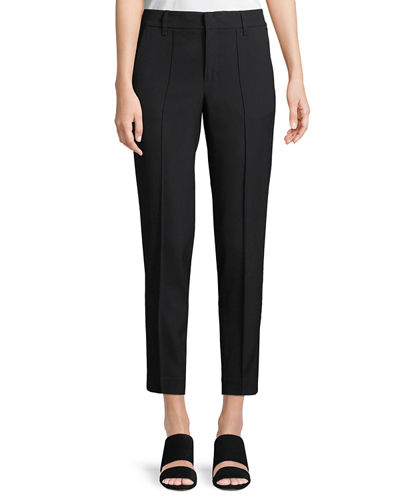 Stitch-Front Straight-Leg Cropped Pants