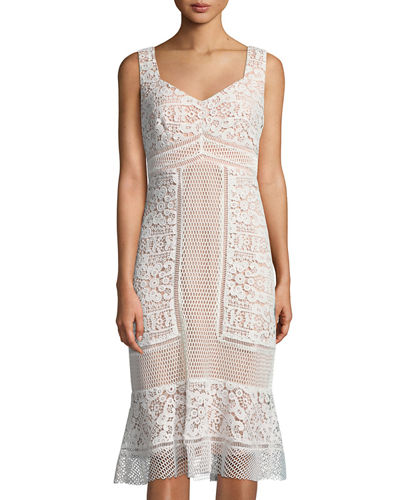 JAX Crochet-Lace V-Neck Midi Dress